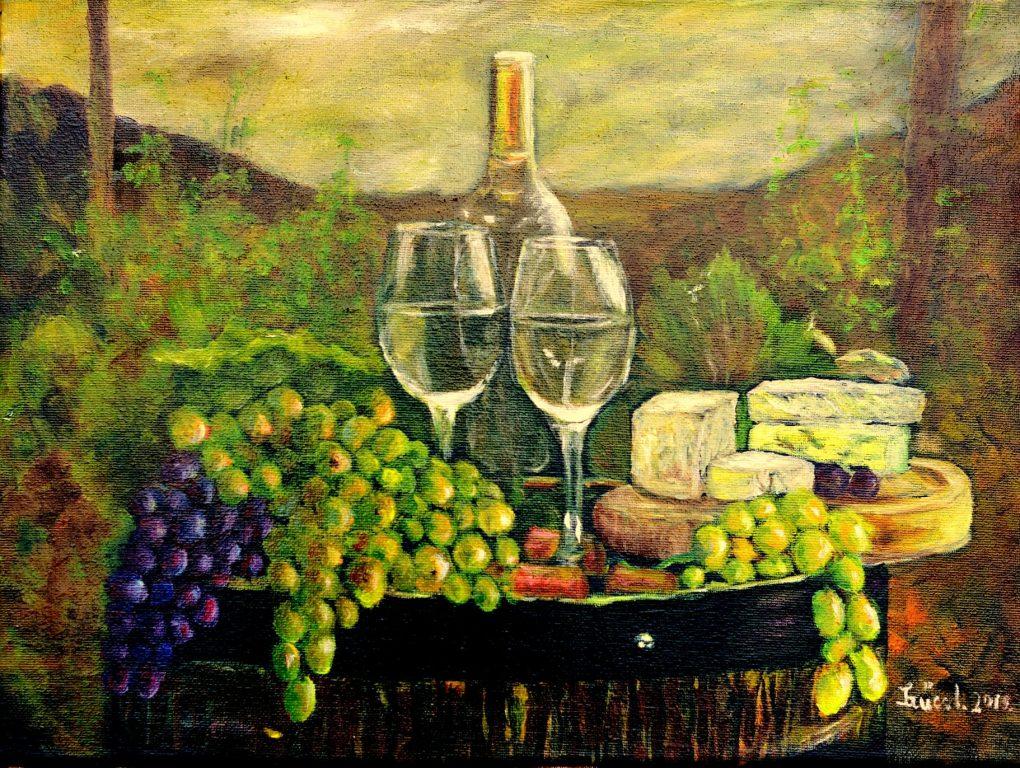 Szűcs Ildikó Csendélet szőlővel, borral